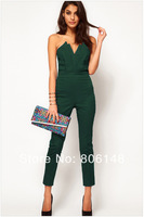 Free shipping Western Women's V Collar Sexy Evening Siamese Trousers, Wholesale Ladies' High Grade Custom Fit Jumpsuits