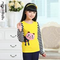 2014 new spring autumn fall children clothing girls clothes striped cotton long sleeve cartoon cat girl t shirt t-shirts 6-14