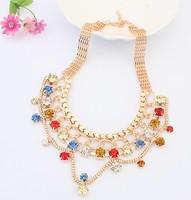 Free shipping Boheme Factory wholesales Fashion Western statement elegant Punk Rhinestone choker Pendant Chain necklace jewelry