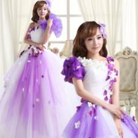 2014 bride long design single oblique evening dress bride puff skirt formal dress