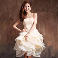 2014 lace one-piece dress bride wedding dress evening dress short design bridesmaid dress champagne color