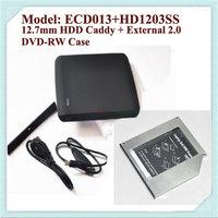Free Shipping Original 100% 12.7mm SATA to SATA  2nd HDD Caddy Optical Bay + External USB 2.0 Optical Drive Enclosure DVDRW Case