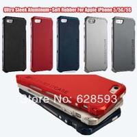 Ultra Sleek Aluminum+Soft Rubber cover case For Apple iPhone 5/5G/5S