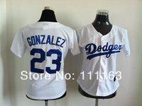 Women's Baseball Jerseys Dodgers Adrian Gonzalez #23 White  Jersey size:S~XL+Mix Order,Free Shipping