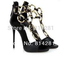 New design black leather golden ring women summer fashion sandals flats & high heels