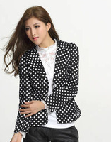 2014 Spring Blazers Women Suit  foldable Black long Slim jacket women's outwear Suit  Plus size Womens Blazers Free Shipping