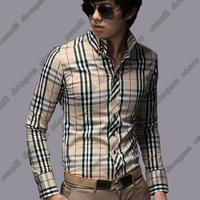 2014 Spring Korea Style Plaid Shirt Long Sleeve men Shirts Brand Luxury