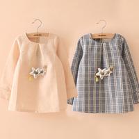 free shipping 2014 spring plaid girls clothing baby child long-sleeve dress qz-1527