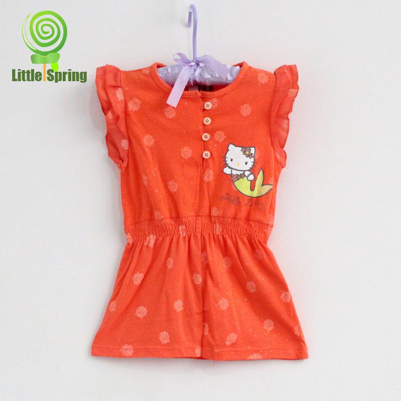 (4 Pcs/Lot) 2014 Summer Hotsale Hello Kitty 2~5 Years Orange Children Girl'sMermaid Tutu Dress(China (Mainland))