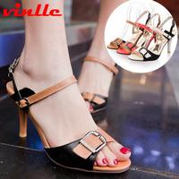 VINLLE 2014 New women rome fashion pumps sandals high heel casual sandals size  34-42