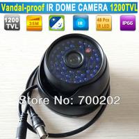 "Promotion!! Outdoor Video Surveillance  IR Night vision mini cctv Vandal proof Dome camera HD 1200TVL 1/3"" SONY camera+ OSD"