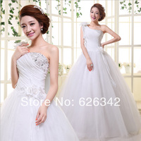 New dress summer One shoulder the bride married to harness flower dress marriage gauze Korean cultivate one's morality