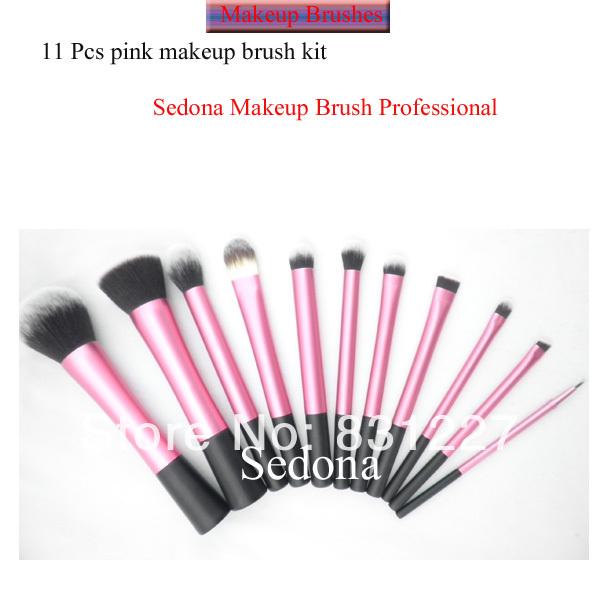 Excellent Taklon hair 11 pieces pink makeup brush set powder blush eyeshadow lip blending cosmetic brush kit with white handle(China (Mainland))