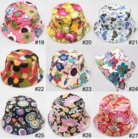 12pcs/lot Cartoon printed kids girls boys cap summer sun hat flower Baby Bucket hats canvas children beanie 30 design in stock