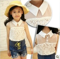 2T-8 years children girl kids princess korean blouses 2014 summer lace chiffon sleeveless girls blouses turn-down with pearl
