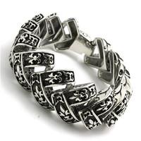 BC0244 Fashion Top Quality 154g Men Bracelet  316 Stainless Steel Hot Sale Wholesale Fleur De Lis Bracelet