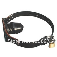 Black Penis Dildo Mouth Gag toy belt adult sex toys with Brass Lock