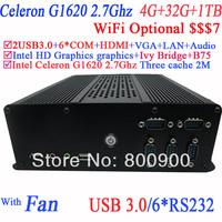 minicomputer mini pc media center with Intel dual core Celeron G1620 2.7GHz IVB Bridge 6COM HDMI 19VDC 4G RAM 32G SSD 1TB HDD