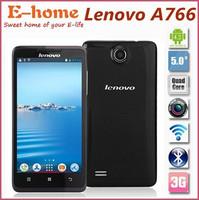 "5.0"" Original Lenovo A766 4GB ROM IPS 854*480 5.0MP 2000mAh Android 4.2 MTK6589 Quad Core Dual SIM 3G GPS Smart Phone"