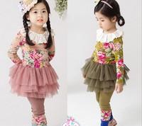 Aones Autumn Flower Girls Clothing Sets Full Sleeve Flower Pattern Kids Clothes Set Spring Princess Children Dress Suit ACS165