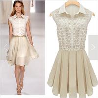 Hot sale European style sleeveless organza patchwork lace pleated dress feminine,women new fashion 2014 clothes chiffon dresses