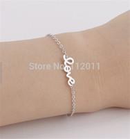 trendy jewelry Korea simple LOVE metal Bracelets 18k gold plated zinc alloy free shipping!