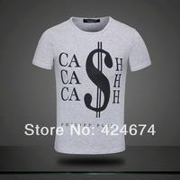 2014 NEW brand Men T-Shirts,man tshirts, round neck T shirts, fashion O-neck t shirt  size M-XXL money on colthes