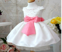 retail 12months~4years 2014 new baby children clothing dresses princess girl's wedding part dress white girls dress xk023