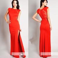 Red/Black 2014 New Summer Sexy Women Club Clothing Lace Dresses Sleeveless Bodycon Dress Vestidos 2014, S, M, L,XL,XXL