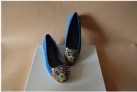 2014 Classic  Brand Embroidery Tiger Head Genuine Suede Leather Women Flats Shoes size 34-40