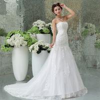 Free Shipping~fish tail  train princess wedding dress sweet Wedding Dress Gown Bridal Ball Size 4-6-8-10-12-14