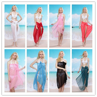 Vs solid color chiffon beach towel magicaf yarn skirt bikini big yarn swimwear mantillas swimwear shirt