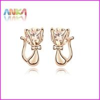 18K Gold Plated Cat Zircon Stud Earrings Jewelry Free Shipping #95077
