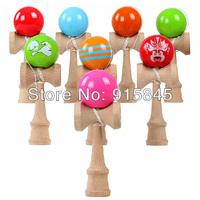 Via Fedex/DHL 100pcs/lot Professional Glossy Kendama Ball Japanese Traditional Wood Game Kids Toy PU Paint & Beech