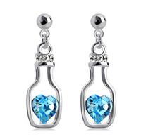 free shipping 2014 new bottle with heart crystal earrings drop earrings swag dangle earring