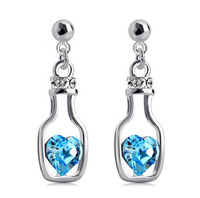 free shipping 2014 new bottle with heart crystal earrings drop earrings swag dangle earring