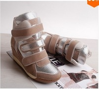 Most Popular ASH Brand Fashion Genuine Leather Women Casual High Top Wedge Sneakers Shoes Inside Height Increasing 8CM
