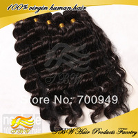 Wholesale unprocessed Peruvian virgin human hair Deep Wave Hair Extensions 4 pcs lot hair weaves weft hair bundles Free Shipping