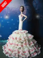 2014 new Handmade Luxury Princess dress for barbie White fishtail skirt For FR Doll + Free Gift