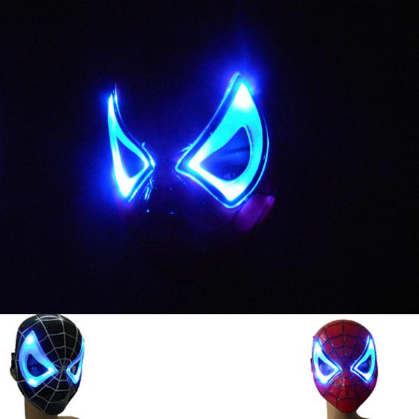 Wholesale Min 5PCS/ Lot Led Lighting Spiderman Cosplay Flashing Mask Black& Red Halloween children's Kids Party Spider Men Masks(China (Mainland))