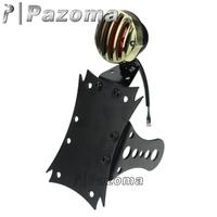 PAZOMA MOTORCYCLE Black & BRASS MALTESE SIDE AXLE LICENSE MOUNT GRILLED VINTAGE TAIL LIGHT BOBBER