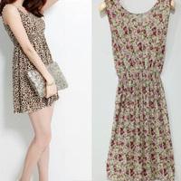 Women's Summer Dresses New 2014 Summer Sweet Vest Dress Slim Round Neck Sleeveless Dress Women Floral Dresses XD398