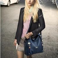 2014 women's genuine leather handbag fashion handbag women's color block cowhide messenger bag casual bag