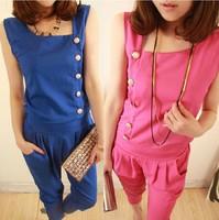 The new spring 2014 han edition dress irregular jumpsuits chiffon jumpsuit summer leisure height big yards pants