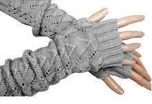 Women Crochet Knit  Stretch Long  Arm Warmer (1 Pair,Light Gray)(China (Mainland))