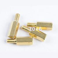 25pcs Male 6mm x M3 Female 10mm M3 10+6 Brass Standoff Spacer