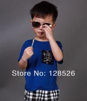 Boys Skull  t Shirts 2014 Summer Children's Short Sleeve Shirt Kids Child Blue Cotton Tops 90-130 Drop Shipping