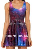 New 2014 Women Design Clothing Set Tweet GALAXY PURPLE REVERSIBLE SKATER DRESS Pleated Girl Dress Casual Sundress Hot S119-75