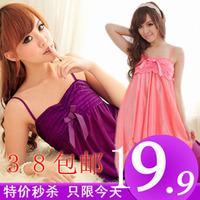 9.9 women's sexy sleepwear silk spaghetti strap nightgown the temptation of viscose nightgown summer lovely sleepwear female