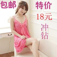 Women's summer nightgown spaghetti strap silk sexy sleepwear female one-piece dress lace decoration lounge set